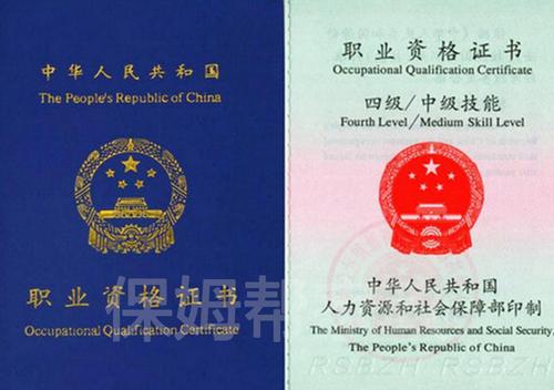 中级育婴师职业资格证书-封面